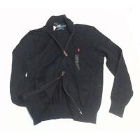 POLO Ralph Lauren Men Sweater Size M Navy Blue Cotton Full Zip NWT $145