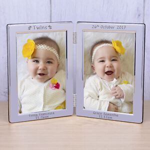 'Twins' Silverplated Double Photo Frame 6x4 - Personalised New Baby Gift