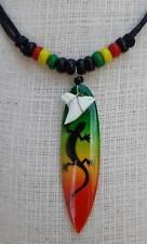 Lizard Surfboard Choker Necklace Rasta Men Women Shark Tooth Pendant slip knot