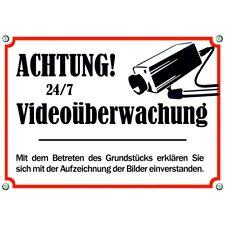 Warnschild Achtung Videoüberwachung - uv-beständig Metallschild (DSBVO) 24/7
