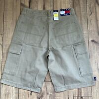 Vintage 90's Tommy Hilfiger Mens Khaki Denim Cargo Shorts Size 34 NWT Big FLAG