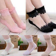 Women Girls Ankle Socks Sheer Silk Ruffle Frilly Crystal High Sock Fancy Dress