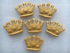 Edible large sugarpaste crowns - cake topper x 6 gold shimmer