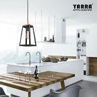 Modern Lantern Pendant Light Industrial Style in Matt black/Timber