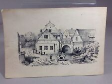 Antique Etching Black Ink Country Scene Cow With Girl 1870's