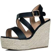 Womens Adjustable Buckle Platform Wedge Heel Espadrille Sandals Shoes