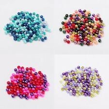 Pearl Beads 4mm 6mm 8mm Glass Mixed Blue Red Green Pink