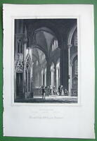 GERMANY Interior of Church at Ruffach - 1853 Antique Print