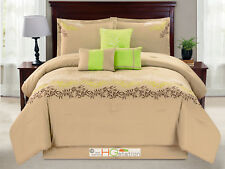 7-P Laurel Leaves Garland Embroidery Comforter Set Taupe Green Brown Silver King
