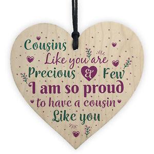 Cousin Gifts Handmade Wood Heart Family Plaque Birthday Keepsake Thank You Gift