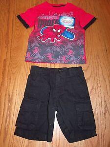New Boys 2 Piece Spiderman Super Hero Black Shorts ShortSleeve Shirt Red Black 4