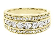14k Yellow Gold Over Three Row Round Channel Diamond 8mm Wedding Band Ring 1.2ct