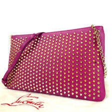 Authentic Christian Louboutin Spike studs 2-way clutch bag Shoulder Bag leat...