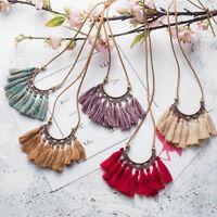 Boho Tassel Necklace Women Vintage Jewelry Leather Rope Chain Silk Fabric Choker