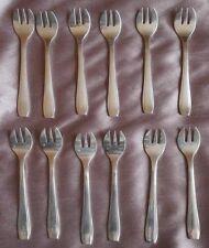 ARGENTAL : 12 fourchettes à huîtres en métal argenté style art déco
