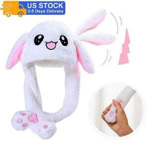 Rabbit Hat Ear Moving Airbag Bunny Cute Plush Funny Cap Headwear Soft Girls Gift
