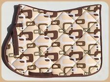 **CLEARANCE** BEIGE BROWN KHAKI SQUARE LINK QUILTED SADDLE PAD CLOTH