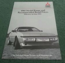 May 1985 MITSUBISHI PRICE LIST SPECIFICATION BROCHURE Starion Shogun L300 Lancer