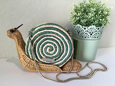 Kate Spade Spring Forward Wicker Green Snail Crossbody Bag Clutch 100% Authentic