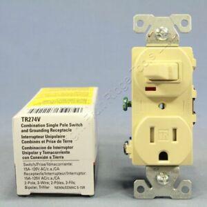 Cooper Ivory TAMPER RESISTANT Pilot Light Switch Outlet Receptacle 15A TR274V