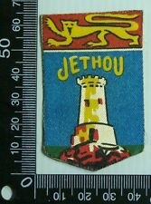 VINTAGE JETHOU GUERNSEY EMBROIDERED SOUVENIR PATCH WOVEN CLOTH SEW-ON BADGE