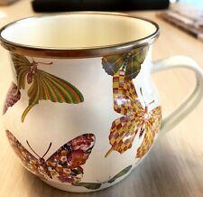 "MacKenzie-Childs Butterfly Garden Enamel Mug - White 3.5"" tall / 16 oz"