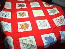 VINTAGE RED HANDMADE QUILT 87x105 WITH WHITE 11x11 SQUARES OF LEAVES UNFINISHED