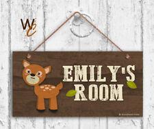 Deer Sign, Woodland Personalized Sign,Kid's Name, Kids Door Sign, 5x10 Sign