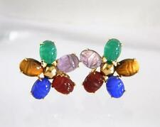 Vintage Solid 14K Gold Multi Color SCARAB Gemstone Clip On Earrings