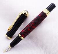 Dikawen 817 Vintage Fountain Pen Red Grape Pattern Dragon Clip Writing Pen
