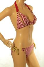 Baby Phat Women's Bikini Set Striped Red And White With Metallic Gold Size S