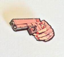 quirky Steampunk Revolver  Handgun Red Nail Deco Funky Kitsch Emo Pin Brooch