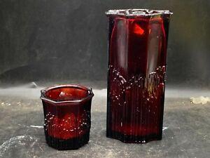 VINTAGE AVON CHERRY RED AMBER COLOUR GLASS VASES 2 OF