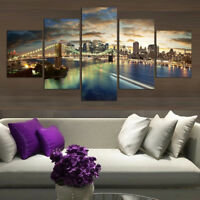 Brooklyn Bridge Manhattan Sunset 5 Panel Canvas Print Wall Art