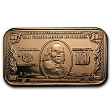 1 oz Copper Bar - $100 Benjamin Franklin Banknote - SKU #87381