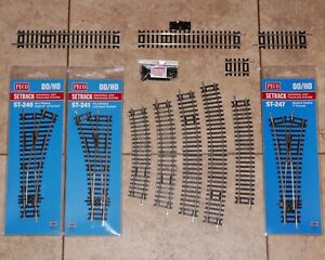 Peco Setrack 00 Gauge code 100 Turnouts Points Straights Curves Track Pins