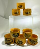 ANTIQUE SET OF EIGHT MAUCHLINE WARE NAPKIN RINGS ASST CHURCH, ADS,PIERS,SCENIC