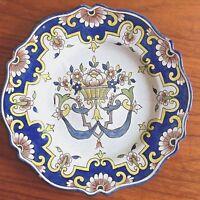 ASSIETTE ROUEN XVIII ème SIGNÉE DÉCOR AU PANIER ET RUBAN/ 18 th French Plate