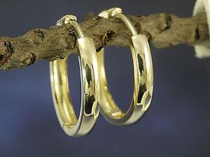 585 Gold Klappcreolen Grösse 16,5 x 2,7 mm 1 Paar leicht gewölbte Form