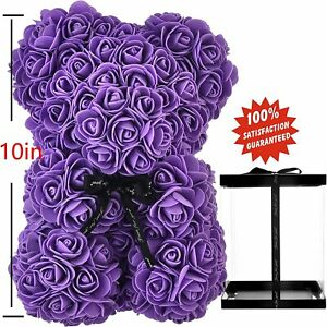 Romantic Souvenir Gifts Purple Color Rose Bear Valentine Gifts with Gift Box