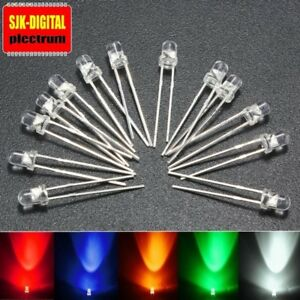Transparente High Quality 3mm LED LEDs Leucht Dioden in verschiedenen Farben +++