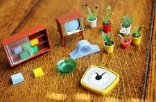 Vintage Wooden Dolls' House Lounge Furniture 1/16th Scale
