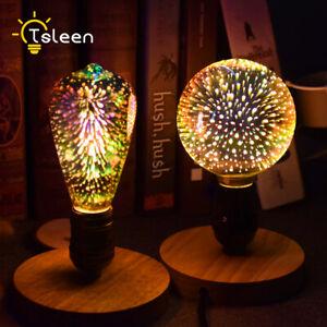 3D Fireworks Effect LED Bulb Colorful Lamp E27 85-265V Retro Filament Light 1x