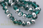 50pcs 8X6mm Rondelle Faceted Crystal Glass Beads Half Silver Half Peacock Green