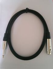 """3ft XLR 3-Pin Female to 1/4"""" TS Plug Male Microphone Mic Cable Cord"""