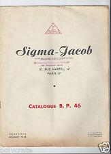 Publicité ancienne Catalogue Sigma Jacob Pièces Electrique _ Schémas et Tarif