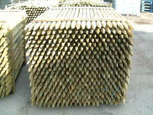 10 x 1.5m (5ft) x 40mm ROUND & POINTED TREATED WOODEN FENCE POST STAKES