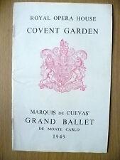 Royal Opera House Covent Garden BALLET 1949- DE MONTE CARLO/SWAN LAKE/LES BICHES