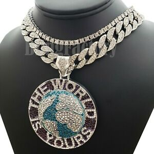 """SILVER PT THE WORLD IS YOURS BIG PENDANT & 18"""" ICED CUBAN & 1ROW CHAIN NECKLACE"""