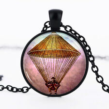 Hot Air Balloon Black Dome Glass Cabochon Necklace chain Pendant #247